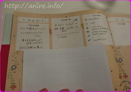 日記も思い出の品を貼れる