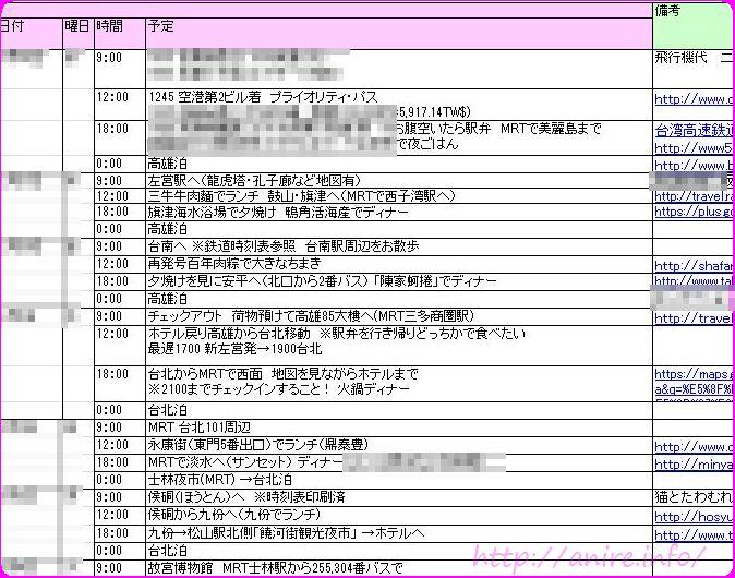 台湾個人旅行用旅程表サンプル-R