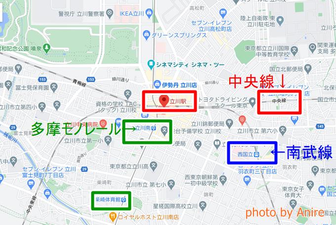立川駅の位置3線合流